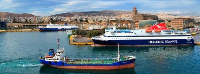 Ships in Port of Piraeus, Athens, Greece, Europe